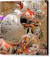 Mouth-blown Hand Painted Christmas Ornaments Canvas Print by Christine Till