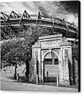 Murrayfield Stadium With War Memorial Arch Edinburgh Scotland Canvas Print by Joe Fox