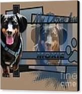 My Doxie Has Moxie - Dachshund Canvas Print by Renae Laughner