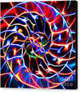 Nautilus Shell Ying And Yang - Electric - V2 - Blue Canvas Print by Wingsdomain Art and Photography