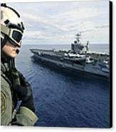 Naval Air Crewman Conducts A Visual Canvas Print by Stocktrek Images