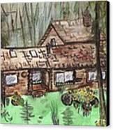 Neighbors Cabin Montana Canvas Print by Windy Mountain