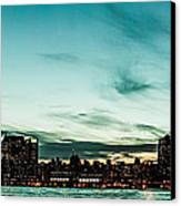 New Yorks Skyline At Night Ice 1 Canvas Print by Hannes Cmarits