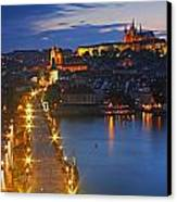 Night Lights Of Charles Bridge Or Canvas Print by Trish Punch