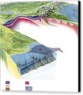 North American Geology And Oil Slick Canvas Print by Gary Hincks