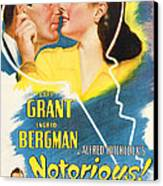 Notorious, Cary Grant, Ingrid Bergman Canvas Print by Everett