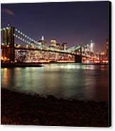 Nyc Brooklyn Nights Canvas Print by Nina Papiorek