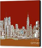 Nyc Red Sepia  Canvas Print by Adendorff Design
