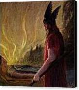Odin Leaves As The Flames Rise Canvas Print by H Hendrich