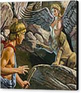 Oedipus Encountering The Sphinx Canvas Print by Roger Payne