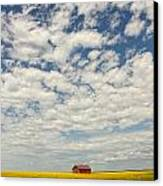 Old Abandoned Red Barn In The Midst Canvas Print by Robert Postma