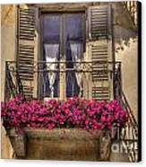 Old Balcony With Red Flowers Canvas Print by Mats Silvan