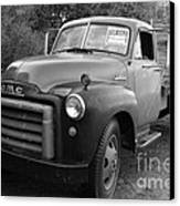Old Nostalgic American Gmc Flatbed Truck . 7d9821 . Black And White Canvas Print by Wingsdomain Art and Photography