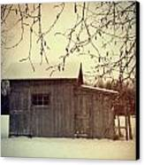 Old Shed In Wintertime Canvas Print by Sandra Cunningham