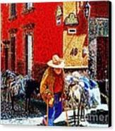 Old Timer With His Burros On Umaran Street Canvas Print by John  Kolenberg