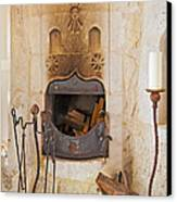 Olde Worlde Fireplace In A Cave  Canvas Print by Kantilal Patel