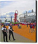Olympic 2012 Stadium Security Canvas Print by Peter Allen