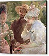 On The Terrace At Sevres Canvas Print by Marie Bracquemond