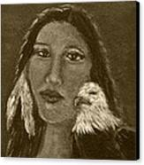 Onawa Native American Woman Of Wisdom With Eagle In Sepia Canvas Print by The Art With A Heart By Charlotte Phillips