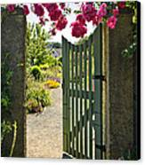 Open Garden Gate With Roses Canvas Print by Elena Elisseeva