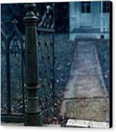 Open Iron Gate To Old House Canvas Print by Jill Battaglia