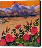 Orange Sun Over Wild Roses Canvas Print by Carolyn Doe