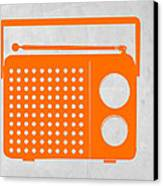 Orange Transistor Radio Canvas Print by Naxart Studio