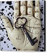 Palm Reading Hand And Key Canvas Print by Garry Gay