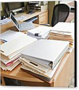 Paperwork On An Office Desk Canvas Print by Jetta Productions, Inc