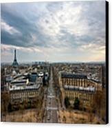 Paris And Eiffel Tower At Sunset Canvas Print by Philipp Kern