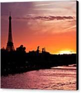Paris Sunset Canvas Print by Mircea Costina Photography