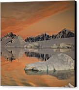 Peaks At Sunset Wiencke Island Canvas Print by Colin Monteath