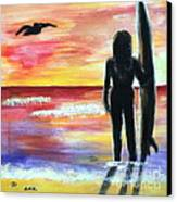 Pelican And The Surfer Girl Canvas Print by Diane Wigstone
