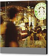 People At One Of The First Starbucks Canvas Print by Justin Guariglia