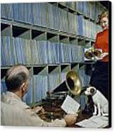 People Work In Rca Victors Vault Canvas Print by Robert Sisson