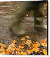 Person In Motion Walks Through Puddle Canvas Print by John Short