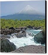 Petrohue Falls And Osorno Volcano Canvas Print by Pcontreras