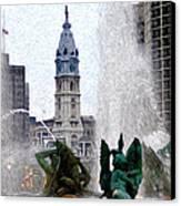 Philadelphia Fountain Canvas Print by Bill Cannon