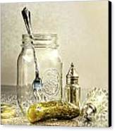 Pickle With A Jar And Antique Salt And Pepper Shakers Canvas Print by Sandra Cunningham