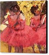 Pink Dancers Before Ballet Canvas Print by Pg Reproductions