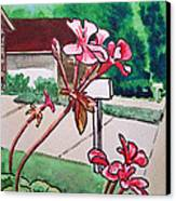 Pink Geranium Sketchbook Project Down My Street Canvas Print by Irina Sztukowski