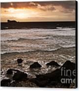 Pink Granite Coast At Sunset Canvas Print by Heiko Koehrer-Wagner