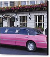 Pink Limo Outside A Pub Canvas Print by Jeremy Woodhouse