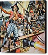 Pirates Preparing To Board A Victim Vessel  Canvas Print by American School