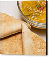 Pita Bread With Brocoli Cheese Dip Canvas Print by Andee Design