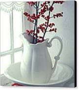 Pitcher With Red Berries  Canvas Print by Garry Gay