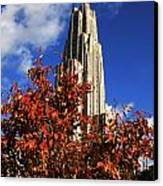 Pittsburgh Autumn Leaves At The Cathedral Of Learning Canvas Print by Will Babin