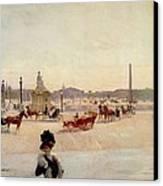 Place De La Concorde - Paris  Canvas Print by Georges Fraipont