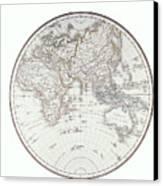 Planispheric Map Of The Eastern Hemisphere Canvas Print by Fototeca Storica Nazionale