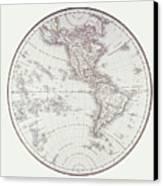 Planispheric Map Of The Western Hemisphere Canvas Print by Fototeca Storica Nazionale